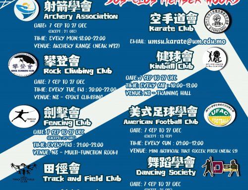 UMSU Sports Sub-Club Member Hours for 2020/2021 1st Semester (7 Sep to 27 Dec)
