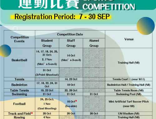 (Reminder) Sports: 2020 UM Sports Fest – Sports Competitions (Online Registration Deadline : 30 Sep)